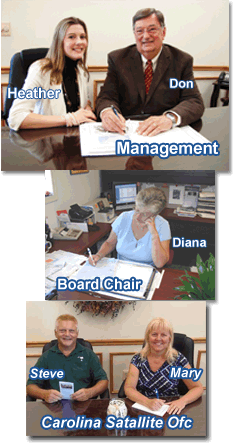 Management, Board Chair and Carolina Satallite Office